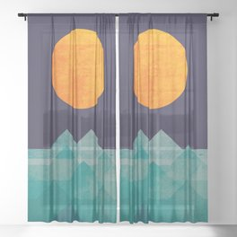 The ocean, the sea, the wave - night scene Sheer Curtain