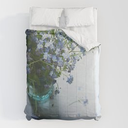 Forget-me-not bouquet in Blue jar Comforters
