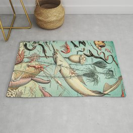 Ocean Creatures // Oceanographie by Adolphe Millot XL 19th Century Science Textbook Artworkjpg Rug