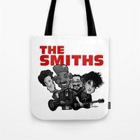 the smiths Tote Bags featuring The Smiths (white version) by BinaryGod.com