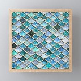 Multicolor Aqua Mermaid Scales - Beautiful Abstract Glitter Pattern Framed Mini Art Print
