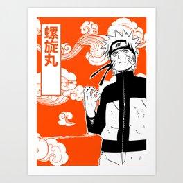 ninja anime orange Art Print