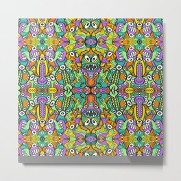 Tropical aquatic creatures in doodle art style forming a colorful pattern design Metal Print