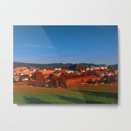 Small rural town skyline at sunrise | landscape photography Metal Print