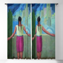 """""""The Northern Border of Mexico"""" - The Dreamers female Latina portrait painting by Angel Zarraga Blackout Curtain"""