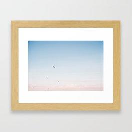 "Coastal beach photography ""Pastel colored sky""  | Printable photo art print | Seagulls Framed Art Print"