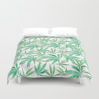 cannabis Duvet Covers featuring 420 Leaves by Bryan James