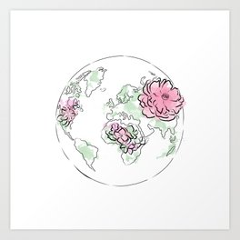 WORLD Map Pink #globe #7 Art Print