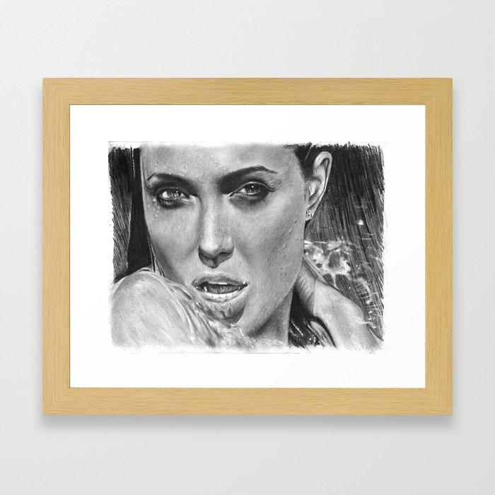 Angelina Jolie Showering Pencil Drawing Framed Art Print