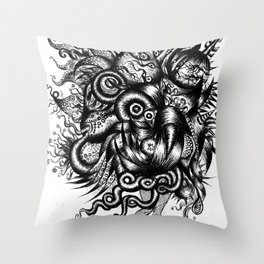 Spaceship Girl_Black Throw Pillow