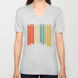 Retro 1970's Los Angeles California Downtown Skyline Unisex V-Neck