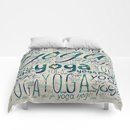 Yoga Pattern Teal Marble with gold  on canvas Comforters