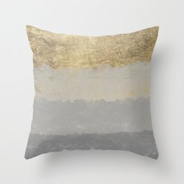 Geometrical ombre glacier gray gold watercolor Throw Pillow