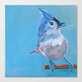 Little Blue Birdie Canvas Print