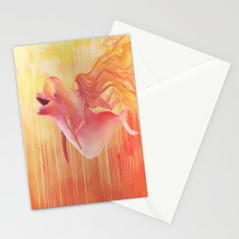 Orange dolphin with mermaid girl swimming in ocean Stationery Cards