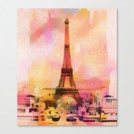 Paris Eifel Tower Abstract Art Illustration pink orange yellow Canvas Print