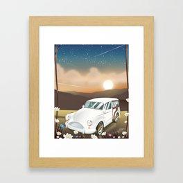 Vintage Car in the sunset. Framed Art Print