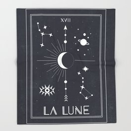 The Moon or La Lune Tarot Throw Blanket