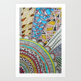 Bright, Colorful, Patterned Rays Art Print