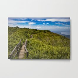 Beautiful Wooden Bridge Leading up to a Lake View on top of Mombacho Volcano, Nicaragua Metal Print