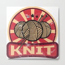 Knitting Propaganda   Knit Wool Hobby Metal Print