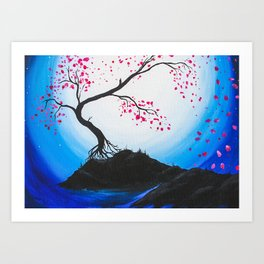 Blue Moon Cherry Blossoms After Brianna Fecarotta Art Print