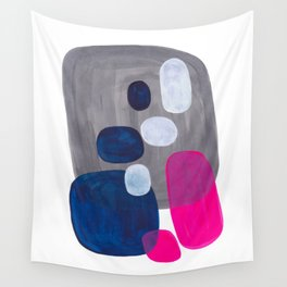 Mid Century Modern Minimalist Colorful Pop Art Grey Navy Blue Neon Pink Color Blobs Ovals Wall Tapestry