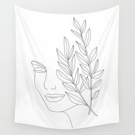 Minimal Line Art Woman Face Wall Tapestry