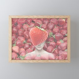Strawberry head collage Framed Mini Art Print