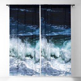 Dark Blue Waves Blackout Curtain