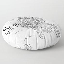 Seattle Map Floor Pillow