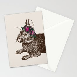 The Rabbit and Roses   Vintage Rabbit with Flower Crown   Rabbit Portrait   Bunny Rabbits   Bunnies Stationery Cards