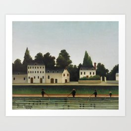 Landscape and Four Fisherman Art Print