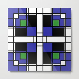 Neoplasticism symmetrical pattern in sapphire blue Metal Print