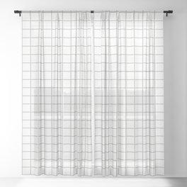 Minimalist Window Pane Grid, Gray on White Sheer Curtain