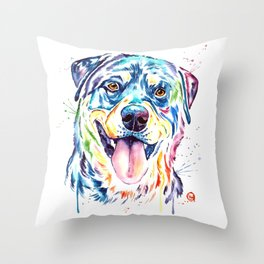 Rottweiler Pet Portrait Colourful Watercolor Painting Throw Pillow