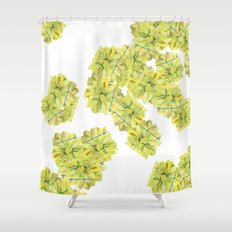 Yellow and Blue Zinnias Shower Curtain