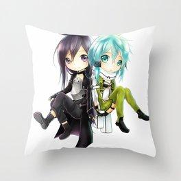 kirito and sinon Throw Pillow