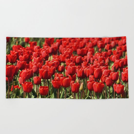Tulips field #4 Beach Towel