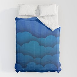 blue 3D clouds creative abstract art blue rays blue backgrounds clouds Comforters