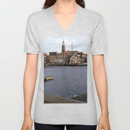 Blokzijl harbour in te Netherlands Unisex V-Neck