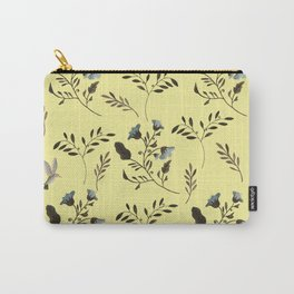 Butter Yellow and Bluebells and Bluebirds Floral Pattern Flowers in Blue and Bark Brown Carry-All Pouch