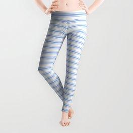 Mattress Ticking Narrow Horizontal Stripe in Pale Blue and White Leggings