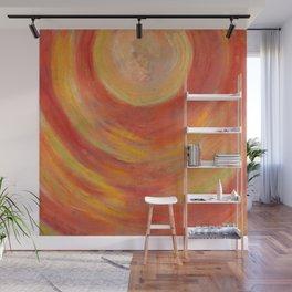 Portal. Red orange pastel drawing Wall Mural