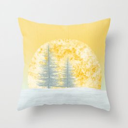 Two snow trees and a lovely sunny morning Throw Pillow