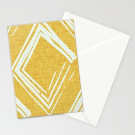 Modern Farm House Diamond Abstract Mustard Stationery Cards