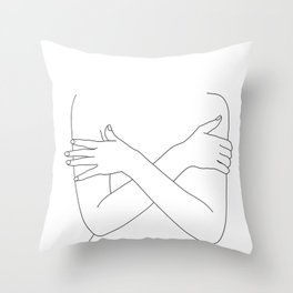 Crossed arms black and white illustration - Charli Throw Pillow