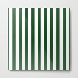Large Forest Green and White Rustic Vertical Beach Stripes Metal Print