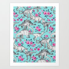 Dinosaurs and Roses - turquoise blue Art Print