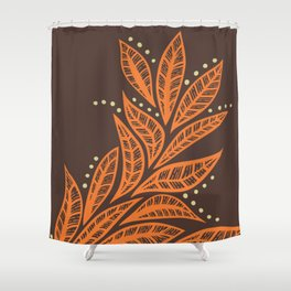 Hawaiian Polynesian tropical floral leaf design Shower Curtain